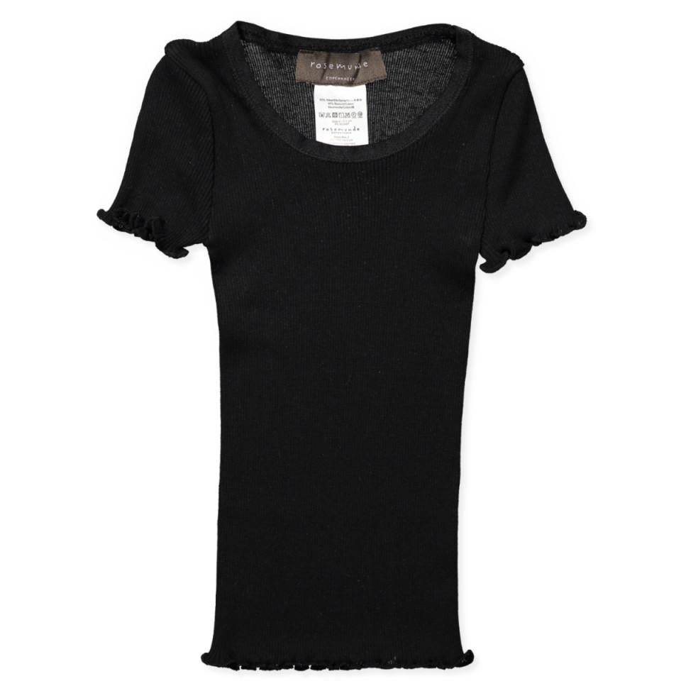 ec5e1f96f1d2b5 Rosemunde - Black silk t-shirt - Black - House of Kids