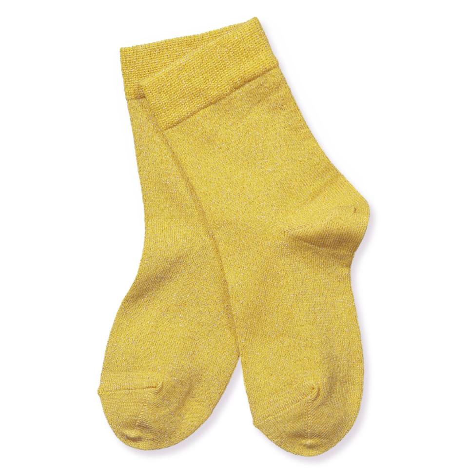 Yellow glitter socks