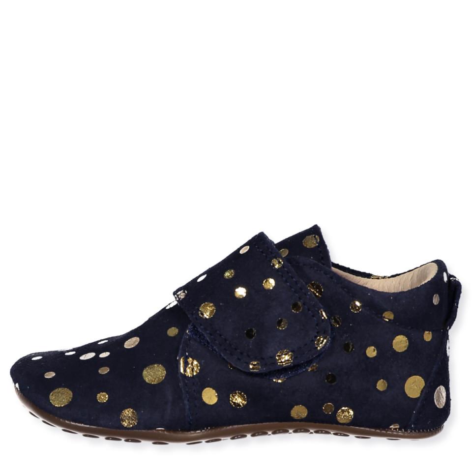 Navy gold dot slippers