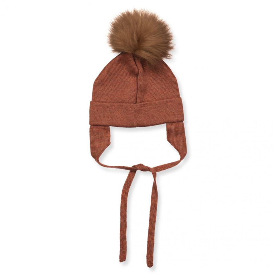 Orange wool baby hat