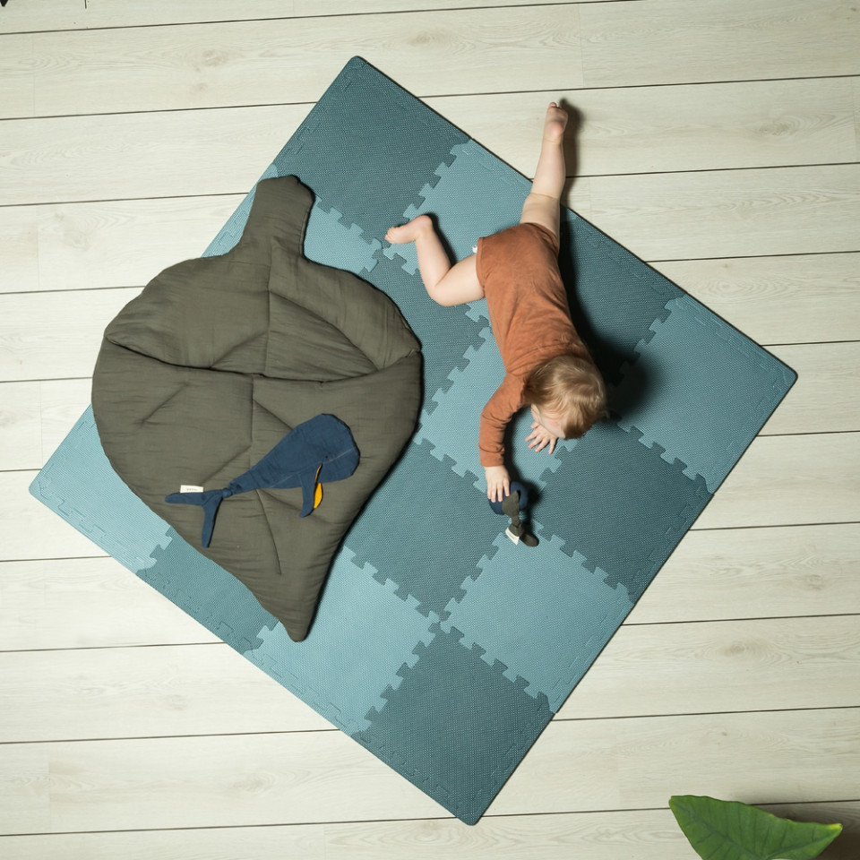 Blue foam play mat