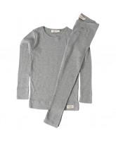 Grey melange rib pyjamas
