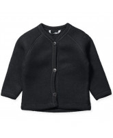 Black merino wool fleece cardigan
