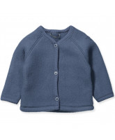 Blue merino wool fleece cardigan