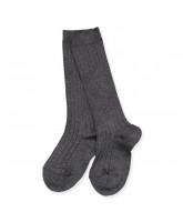 Grey rib knee socks