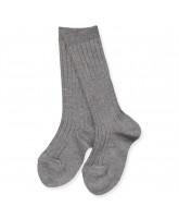 Grey melange rib knee socks