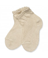 Beige socks with lace pattern