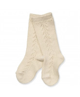 Beige knee socks with lace pattern