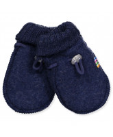 Blue wool fleece baby mittens