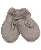 Beige wool fleece baby mittens