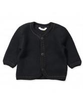 Black wool fleece cardigan