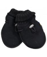 Black wool fleece baby mittens