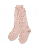Rose knee socks with lace pattern