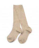 Beige rib knee socks