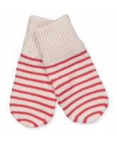 Striped knitted mittens in merino wool