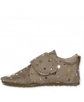 Brown gold dot slippers