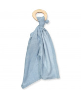 Blue silk comforter with teether