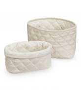 Organic beige quilted baskets