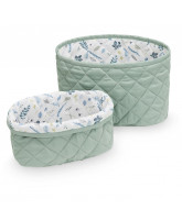 Organic green quilted baskets