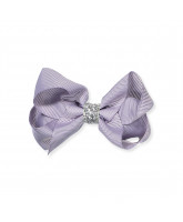 Purple glitter hair bow - 8 cm