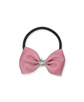 Rose glitter hair bow - 6,5 cm