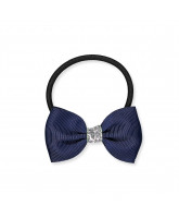 Navy glitter hair bow - 6,5 cm