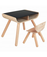Table and chair - black