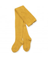 Mustard tights wth lace pattern