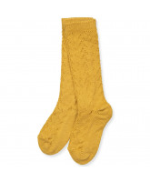 Mustard knee socks wth lace pattern