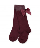 Bordeaux knee socks with bow