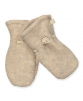 Cream wool fleece mittens