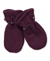 Aubergine wool fleece mittens