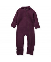 Aubergine wool fleece playsuit