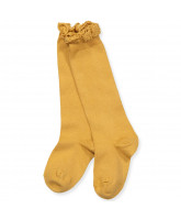 Mustard knee socks with lace