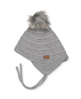 Grey wool baby hat