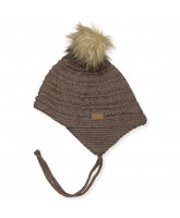 Brown wool baby hat