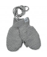 Grey wool baby mittens