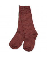 Dark red wool knee socks