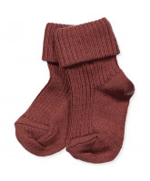 Dark red wool baby socks