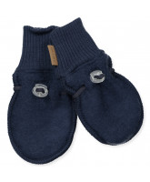 Navy wool fleece mittens