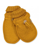 Curry wool fleece baby mittens