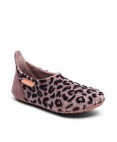 Brown leo wool slippers