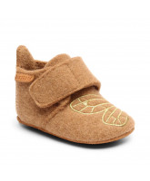 Camel/gold wool slippers