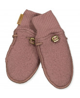 Marron wool fleece mittens