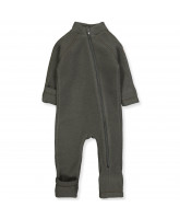 Black olive wool fleece suit