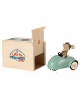 Mouse and car with garage - blue
