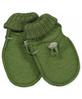 Green wool fleece mittens