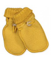 Yellow wool fleece mittens