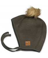 Black Olive wool fleece babyhat