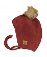 Madder brown wool fleece babyhat